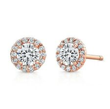 1.00TCW Lab Diamond Solitaire Round Brilliant Halo Stud Earrings 14K Rose Gold