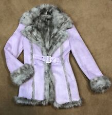 Bebe Womens XS Purple Faux Fur Suede Winter Coat Jacket