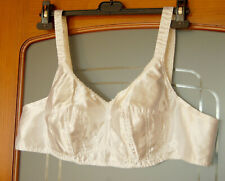 Nos Vintage White Satin Shiny Body Bra Xl 40