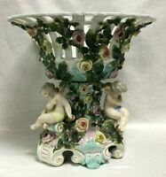 "Antique Huge German Sitzendorf Porcelain Centerpiece, 11.5"" H x 12.5"" W."