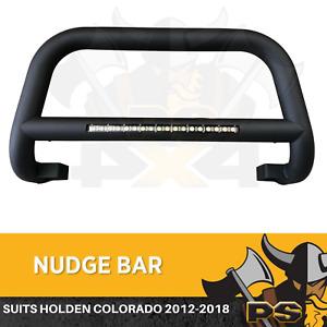 Nudge Bar For Holden Colorado 2012-2018 Matte Black Steel Grille + Light Bar