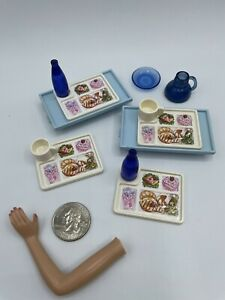 Barbie Doll KITCHEN FOOD ACCESSORIES TRAY CUPS PITCHER VINTAGE BLUE GLASS LOOK