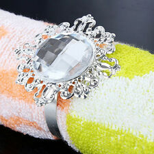 12pcs Diamond Napkin Ring Serviette Holder Wedding Party Banquet Dinner Decor