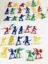 "Plastic Cowboy & Indian Western Lot 34 Figure Playset 1-7/8"" Tall Assorted Poses"