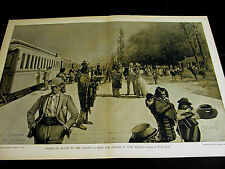 W.H. Crane OVERLAND EXPRESS TRAIN Stops in NEW MEXICO Indians 1891 Large Print
