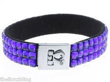 Hip Hop Club Fashion Small Silver Heart Link Bracelet w/ Blue Crystal Bling