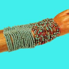 Set of 2 Turquoise Multi Strand Handmade Cleo Stretch Seed Bead Cuff Bracelets