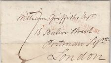 KENT: 1809 SHEERNESS straight line+ boxed mileage mark in red on entire