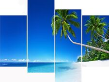Large 4 Panel Set Wall Art Canvas Pictures Tropical Beach Jamaica Holiday Prints