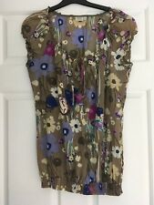 WOMENS ESPRIT S/SLEEVE COTTON BLOUSE/TOP, MULTICOLOURED PRETTY, SIZE AU 10 #1369
