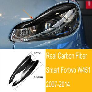 2×Carbon Fiber Headlight Eyebrow Eyelid Trim Fit For Smart Fortwo W451 2007-2014