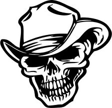 "Cowboy Skull Decal Sticker Car Truck Window- 6"" Wide White Color"