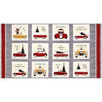 "23"" Fabric Panel - Studio E Around Town Christmas Red Pickup Car Block Gray"