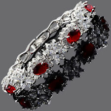 Fashion CZ Oval Cut Red Ruby White Gold Plated Tennis Bracelet