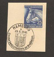 RARE Stamp Germany Sc B191 1941 3rd Reich BLUE RIBBON HAMBURG