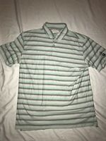 "⛳ Linksoul Tempis Fugit Large L Men's Golf Polo Gray Green Striped ""The Farms"""