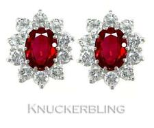 Ruby Natural Oval Yellow Gold Fine Gemstone Earrings