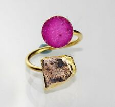 Dh-5514 For Sale Fabulous Sugar Druzy & Kyanite 24k Gold Plated Adjustable Ring