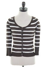 ABERCROMBIE & FITCH Womens Cardigan Sweater Size 8 Small Brown White Stripes