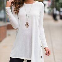 Women Hem Button Tunic Tops Casual Shirt Long Sleeve Round Neck Irregular Blouse