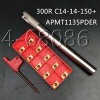300R C14-14-150 Lathe Turning Tool Holder +10Pcs APMT1135PDER Carbide Inserts T8