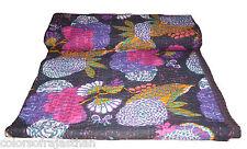 "King Kantha Quilt Indian Sari Quilt Bedspread Bed Cover Kantha Rallies 90'x108"""