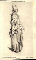 """Alte Künstlerkarte ~1910 Museum BERLIN Zeichnung Daniel Chodowiecki """"Junge Dame"""""""