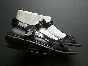 Women's ECCO Black Patent Leather Slingback Sandal Sz. 42/11.5 MINTY!