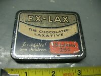 EX - LAX THE  CHOCOLATED LAXATIVE      25 CENT  TIN 8 CAPACITY   VINTAGE  ORIG.