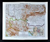 1911 Stieler Map Austria Hungary Budapest Transylvania Serbia Belgrad Szegedin