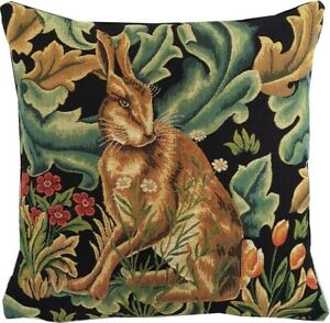 """NEW 18"""" WM WILLIAM MORRIS BLACK FOREST HARE BELGIAN TAPESTRY CUSHION COVER 01877"""