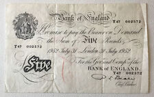 More details for bank of england banknote. five pounds / white fiver. beale. dated 1952.