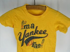 "Vtg 70s 80s ""I'm a Yankee Fan"" New York MLB Childrens Sz 8-10 Hanes T-Shirt Boys"