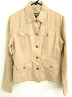Eddie Bauer Womens Size Small Linen Khaki Button Up Blazer Utility Jacket