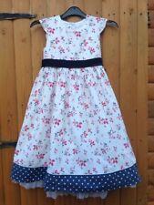 Junior Jasper Conran Debenhams  Summer Floral Cotton Velvet White Belt Dress 7