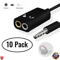 10 PCS 3.5mm Y Splitter Headset Mic Cable, Adapter TRS to TRRS For Phone Laptop