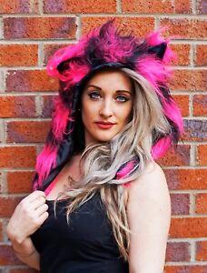Funki-B cute faux fur stripe cheshire cat animal hood fancy dress halloween hat