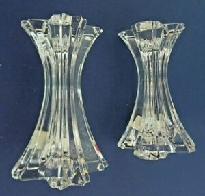 """Pair Of Mikasa Austria Lead Crystal Art Deco Taper Candle Holders 5"""" With Tags"""