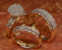 Diamond Trio His And Her Bridal Wedding Engagement Ring Set 14K Yellow Gold Over