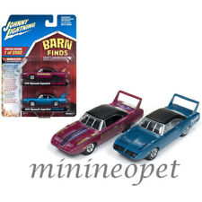 JOHNNY LIGHTNING JLPK002 BARN FINDS 1970 PLYMOUTH SUPERBIRD 1/64 SET PINK & BLUE