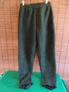 ORVIS fleece underwader pants  Green, Fly zip  Stirrups Men's Medium 32-34