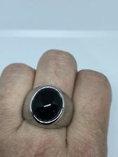Vintage Silver Stainless Steel Size 10 Men's Genuine Black Onyx Ring
