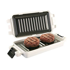 Microwave Non Stick Food Griller BBQ Griddle Burger/sausage Grill Plates
