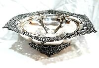 ANTIQUE VICTORIAN HOMAN SILVERPLATE CO # 911 SPECIAL METAL ORNATE BOWL 1895-1904
