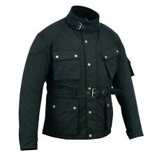 Warrior New Motorcycle Cotton Waxed WP Lined Body Armour Motorbike Bikers Jacket