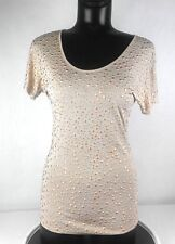 Torn by Ronny Kobo Women's Shirt Size XS Sheer Beige Viscose Rose Gold Studded
