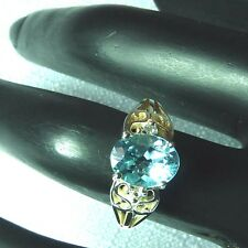 Natural Blue & White Topaz 925 Sterling Silver Filigree Ring