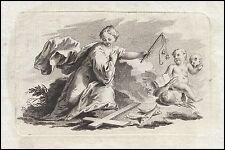 Vanitas Memento Mori la virtud alegoría 1700 Baroque engraving virtues