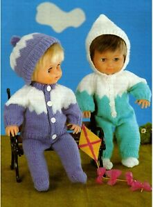 """Knitting Pattern DK Baby Dolls Clothes 12 - 22"""" All in One, Jacket, Leggings"""