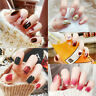 24Pcs Mix-colored Press On Acrylic False Nail Tips Short Full Cover Fake Nails
